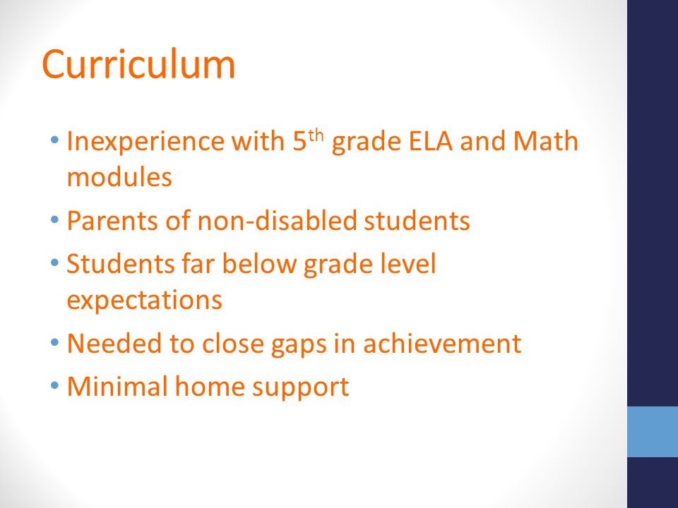 Curriculum Inexperience with 5th grade ELA and Math modules