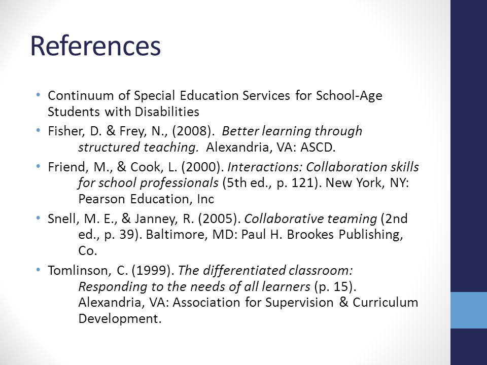 References Continuum of Special Education Services for School-Age Students with Disabilities.
