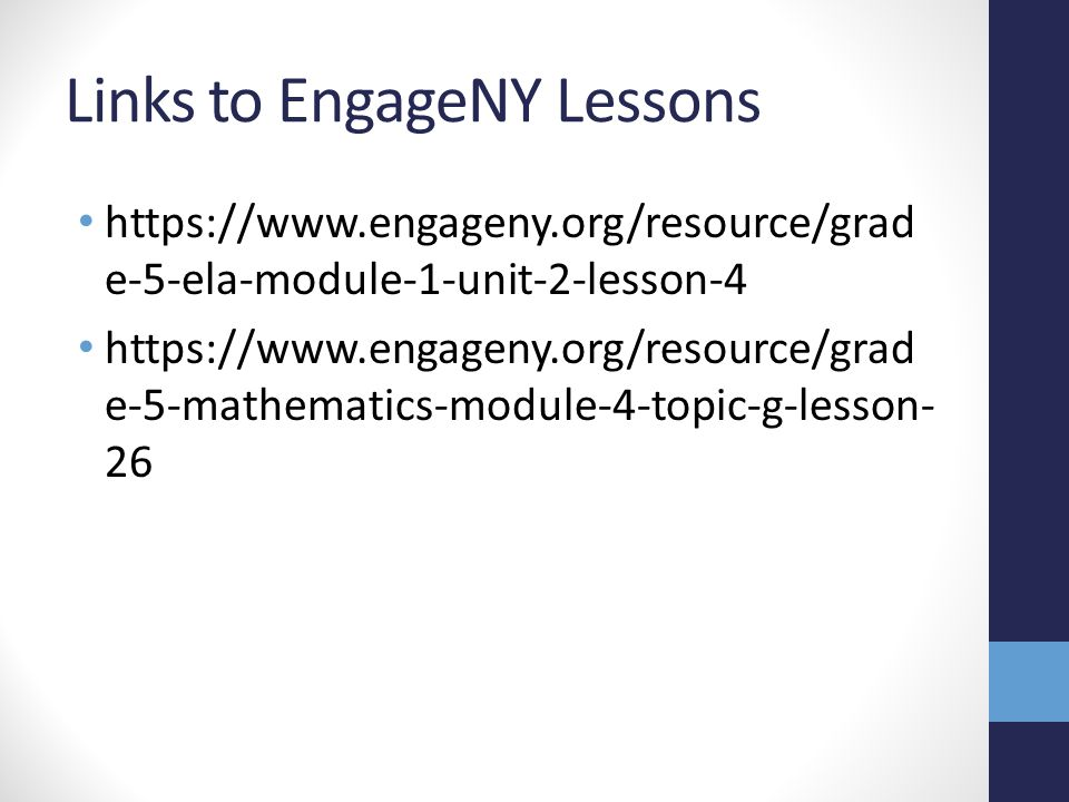 Links to EngageNY Lessons