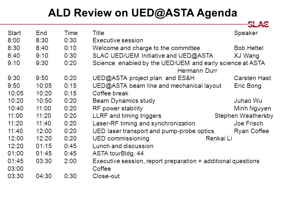 ALD Review on UED@ASTA Agenda