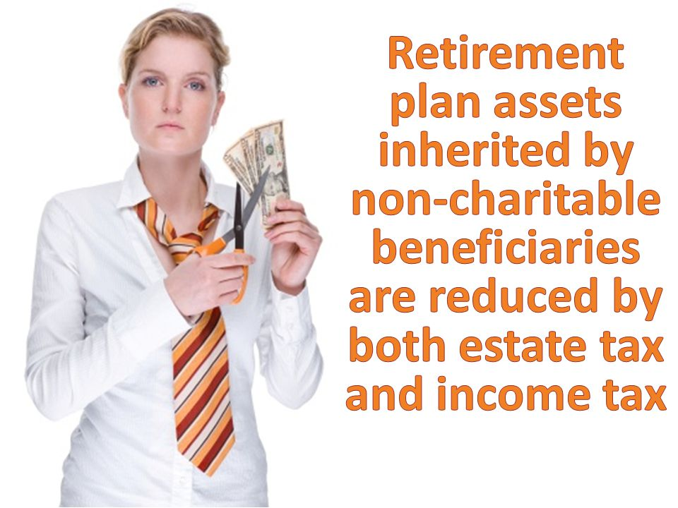 Retirement plan assets inherited by non-charitable beneficiaries are reduced by both estate tax and income tax