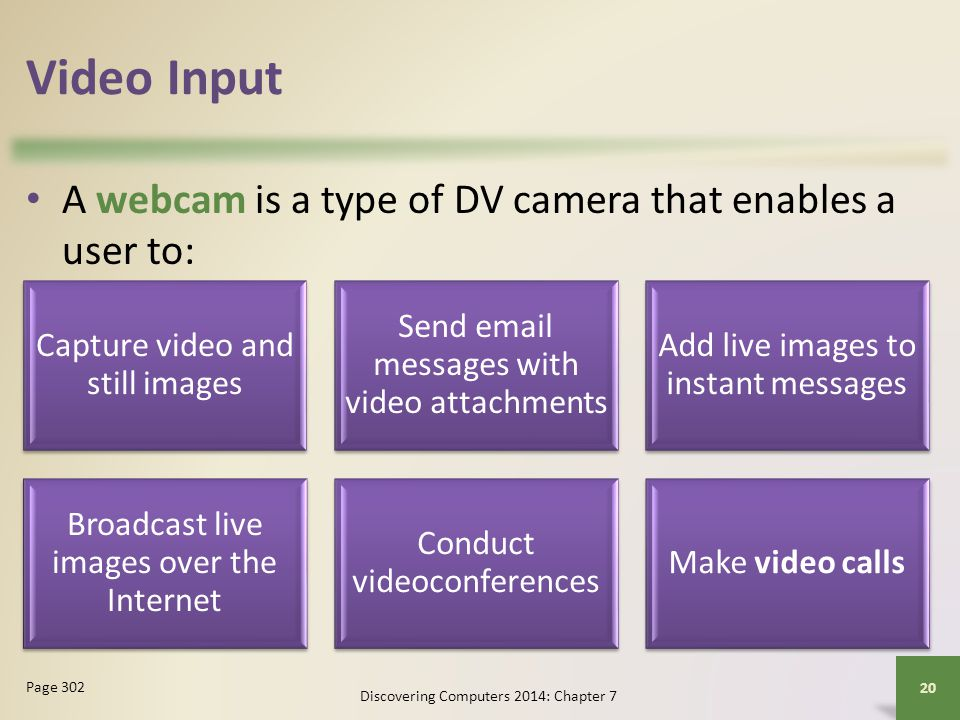 Video Input A webcam is a type of DV camera that enables a user to: