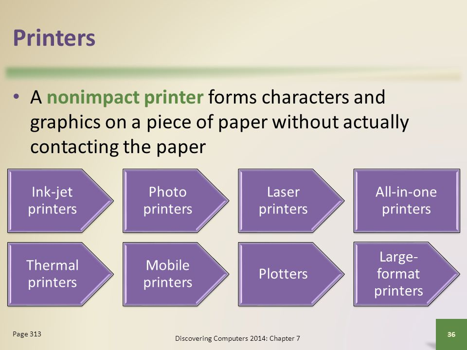 Printers A nonimpact printer forms characters and graphics on a piece of paper without actually contacting the paper.