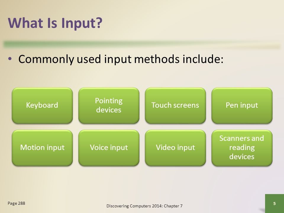 What Is Input Commonly used input methods include: Keyboard
