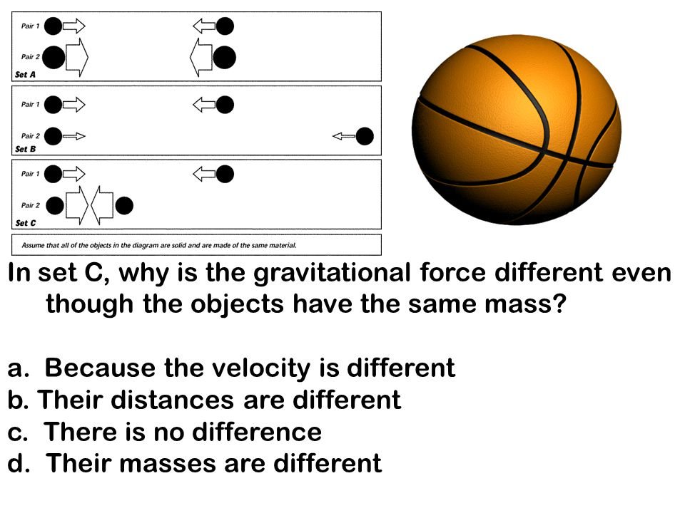 s In set C, why is the gravitational force different even though the objects have the same mass