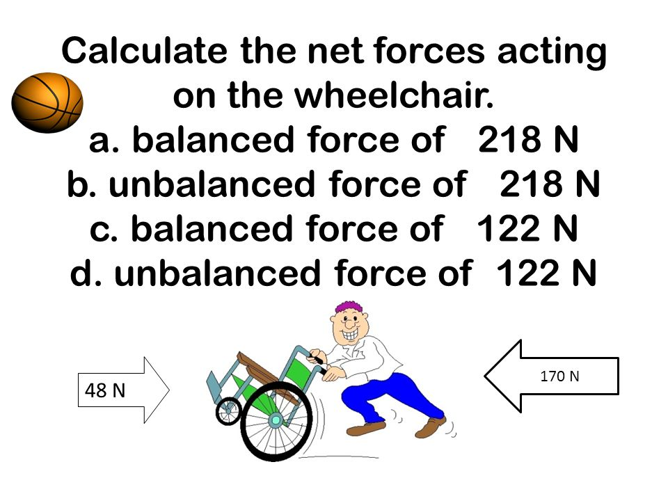 Calculate the net forces acting on the wheelchair. a