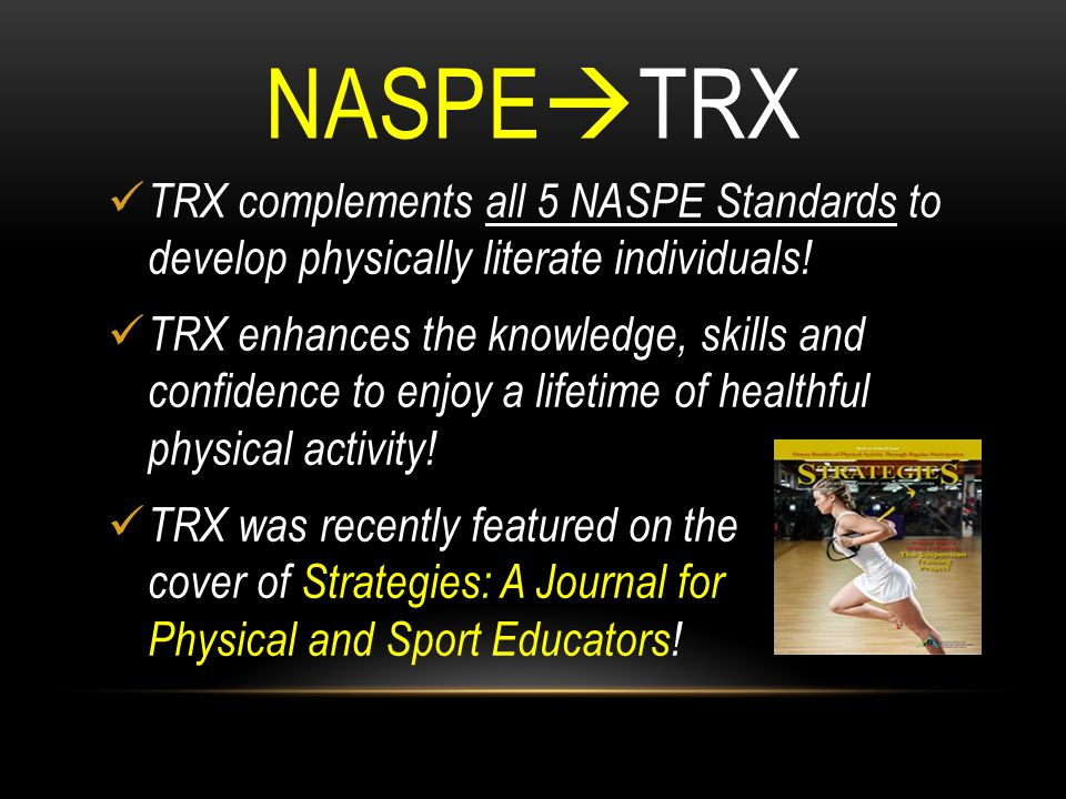 NASPETRX TRX complements all 5 NASPE Standards to develop physically literate individuals!