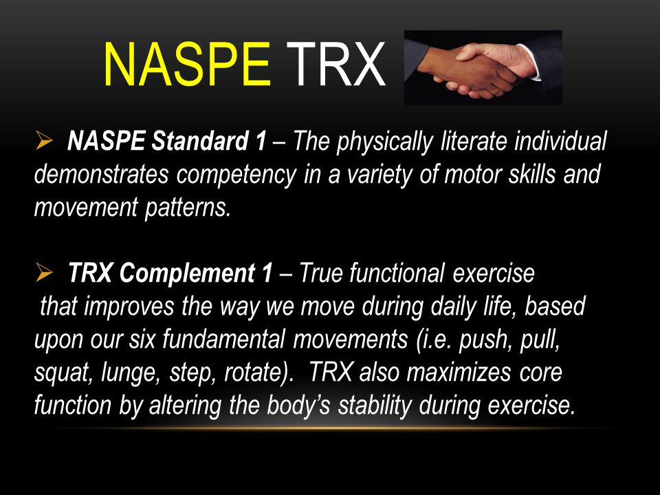 NASPE TRX NASPE Standard 1 – The physically literate individual