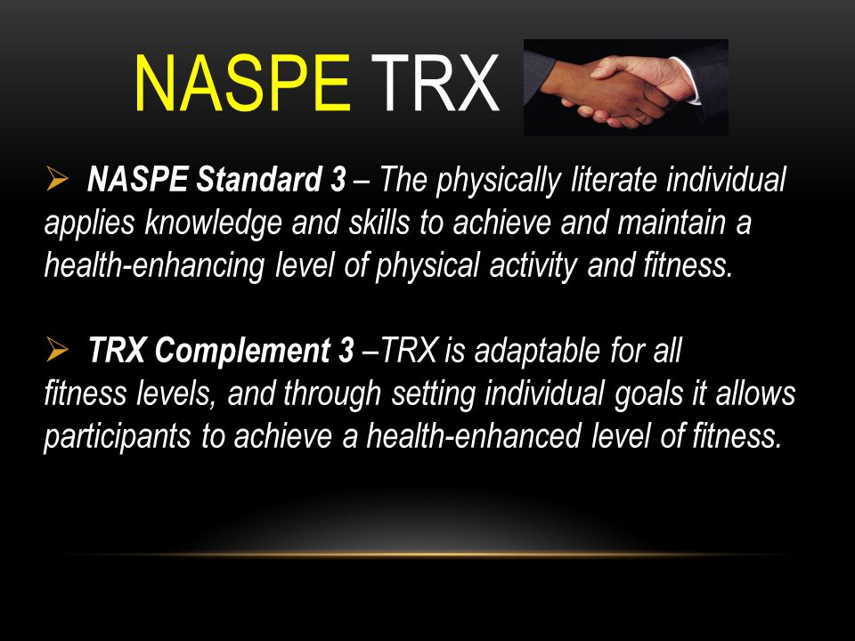 NASPE TRX NASPE Standard 3 – The physically literate individual