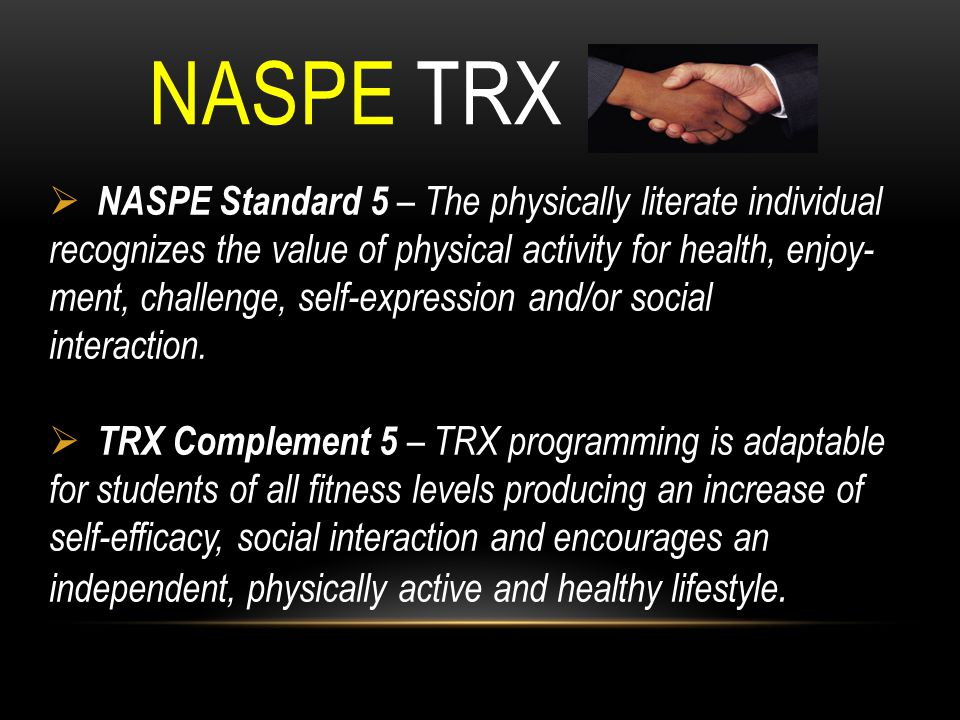 NASPE TRX NASPE Standard 5 – The physically literate individual