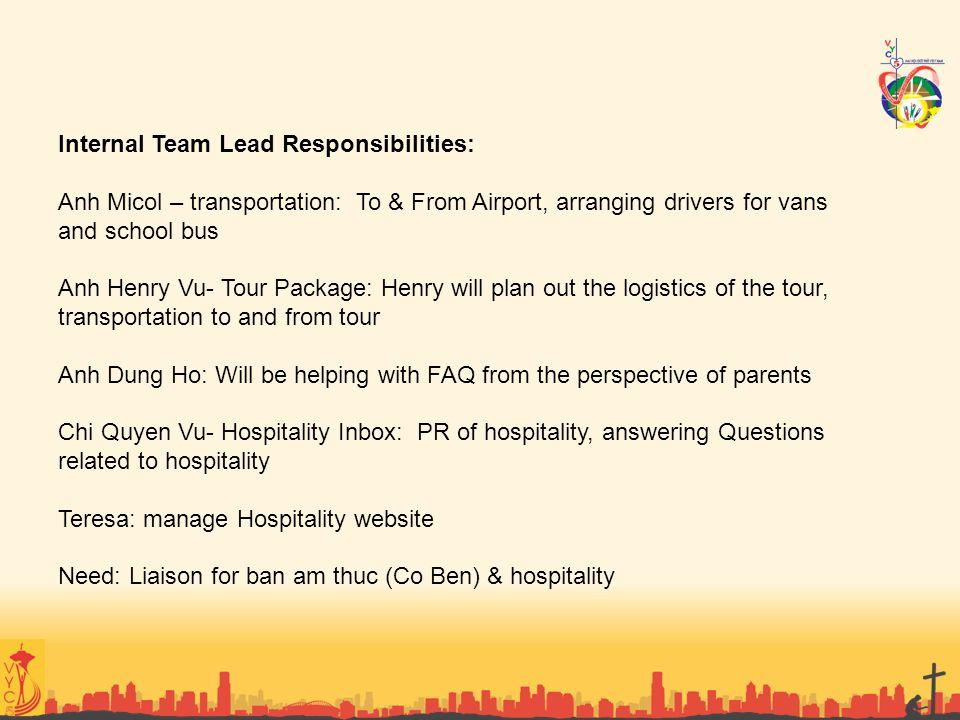 Internal Team Lead Responsibilities: