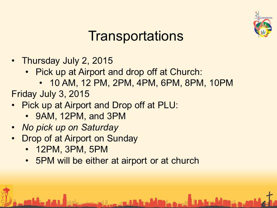 Transportations Thursday July 2, 2015
