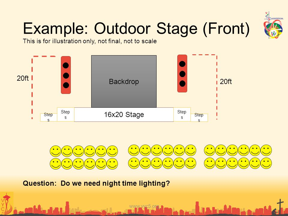 Example: Outdoor Stage (Front) This is for illustration only, not final, not to scale