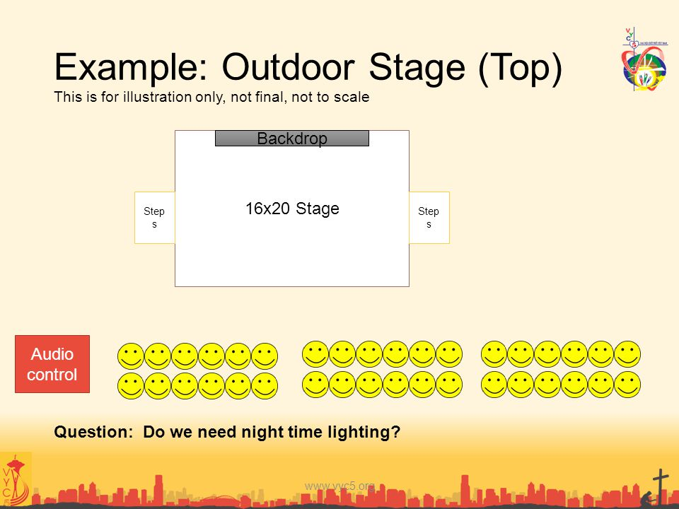 Example: Outdoor Stage (Top) This is for illustration only, not final, not to scale