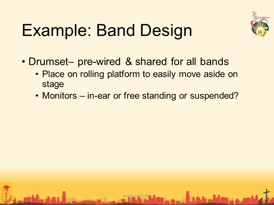 Example: Band Design Drumset– pre-wired & shared for all bands
