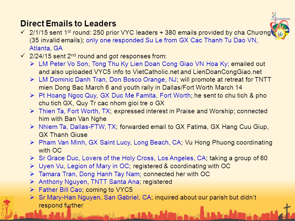 Direct Emails to Leaders
