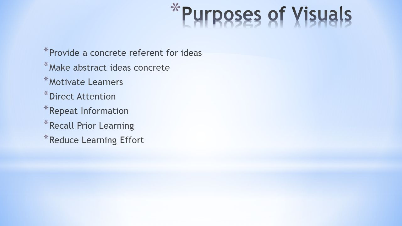 Purposes of Visuals Provide a concrete referent for ideas