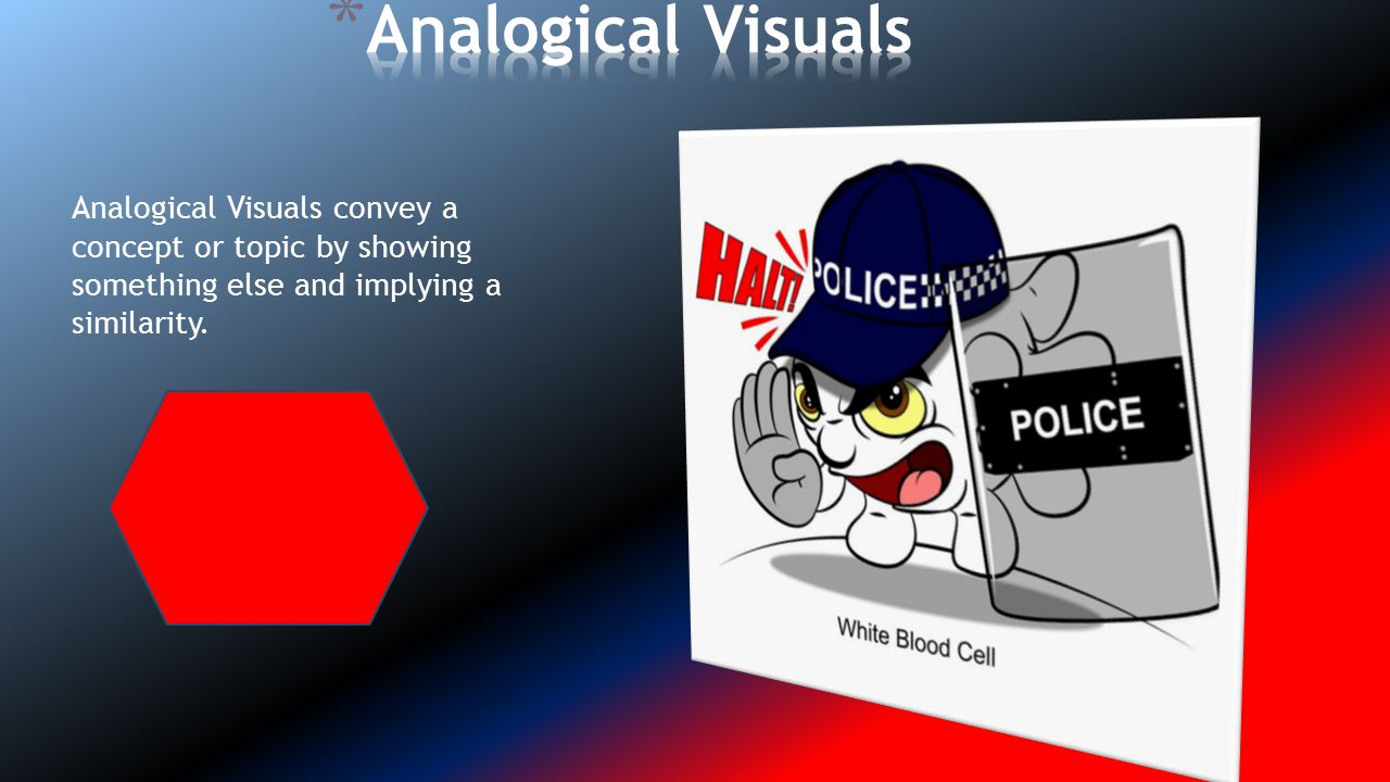 Analogical Visuals Analogical Visuals convey a concept or topic by showing something else and implying a similarity.