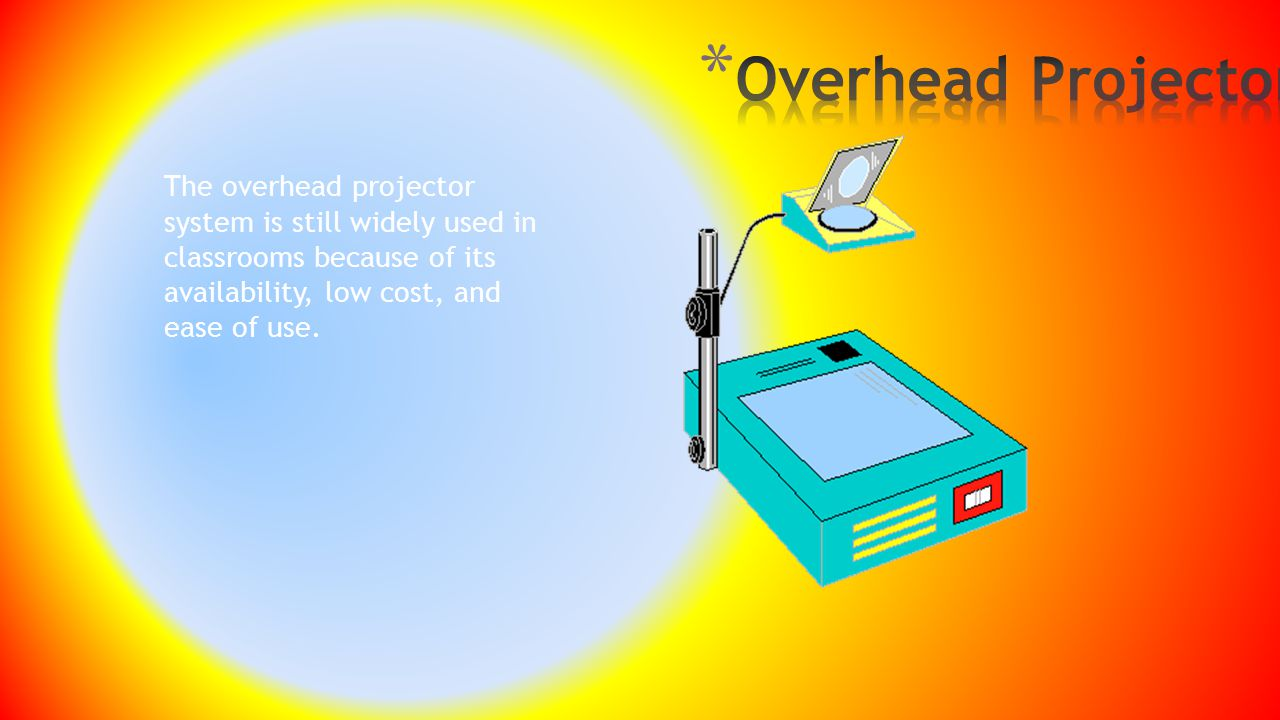 Overhead Projector The overhead projector system is still widely used in classrooms because of its availability, low cost, and ease of use.