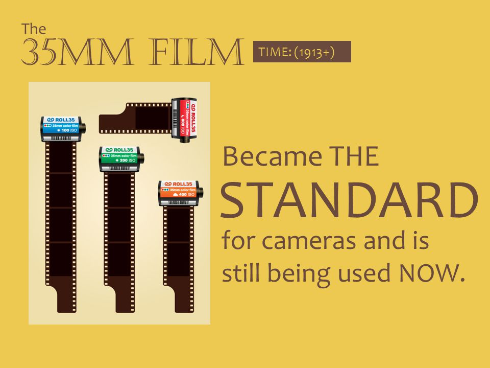 STANDARD 35mm Film Became THE for cameras and is still being used NOW.