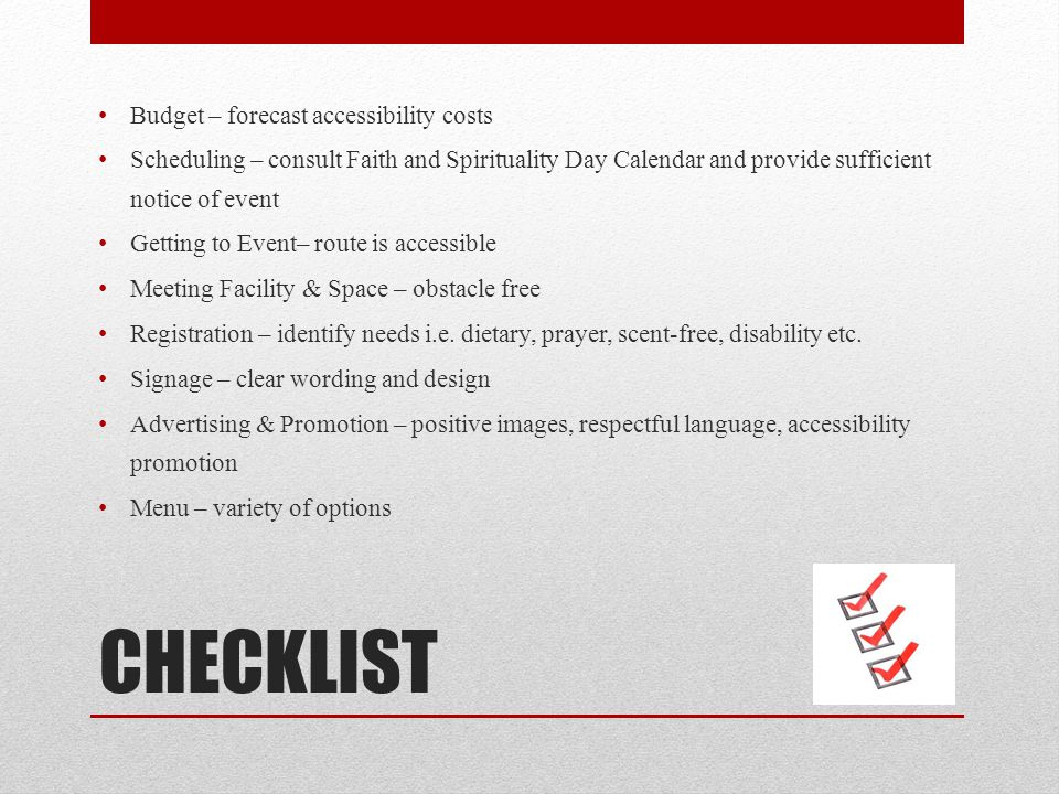 CHECKLIST Budget – forecast accessibility costs