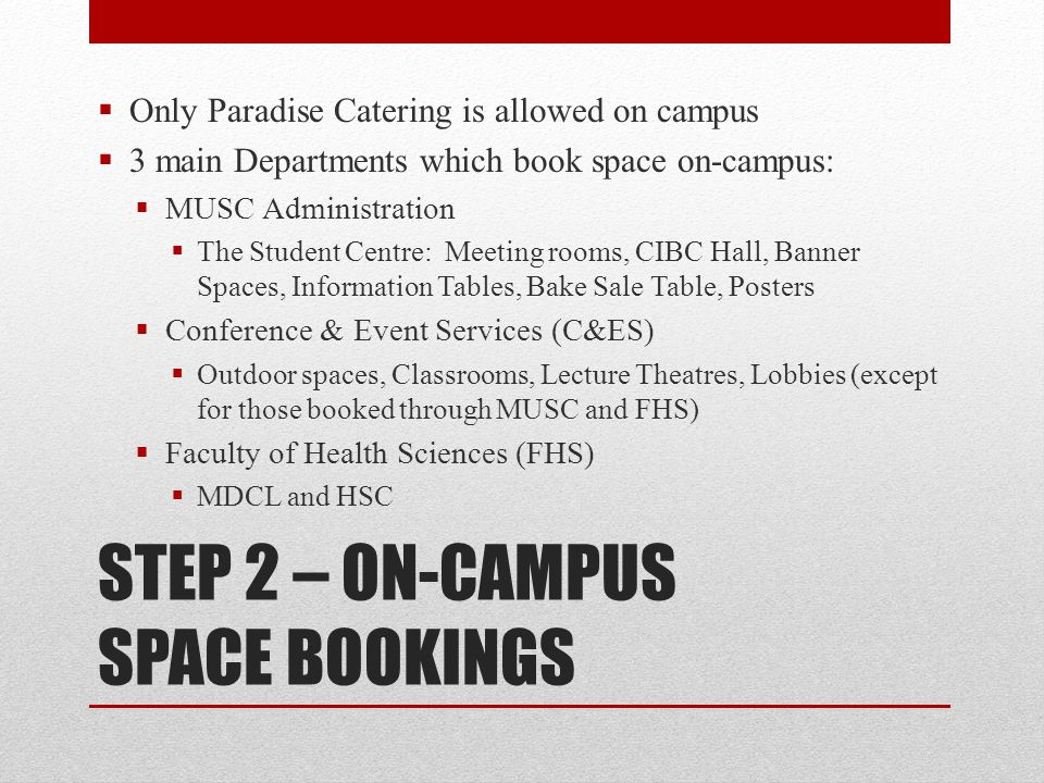 STEP 2 – ON-CAMPUS SPACE BOOKINGS