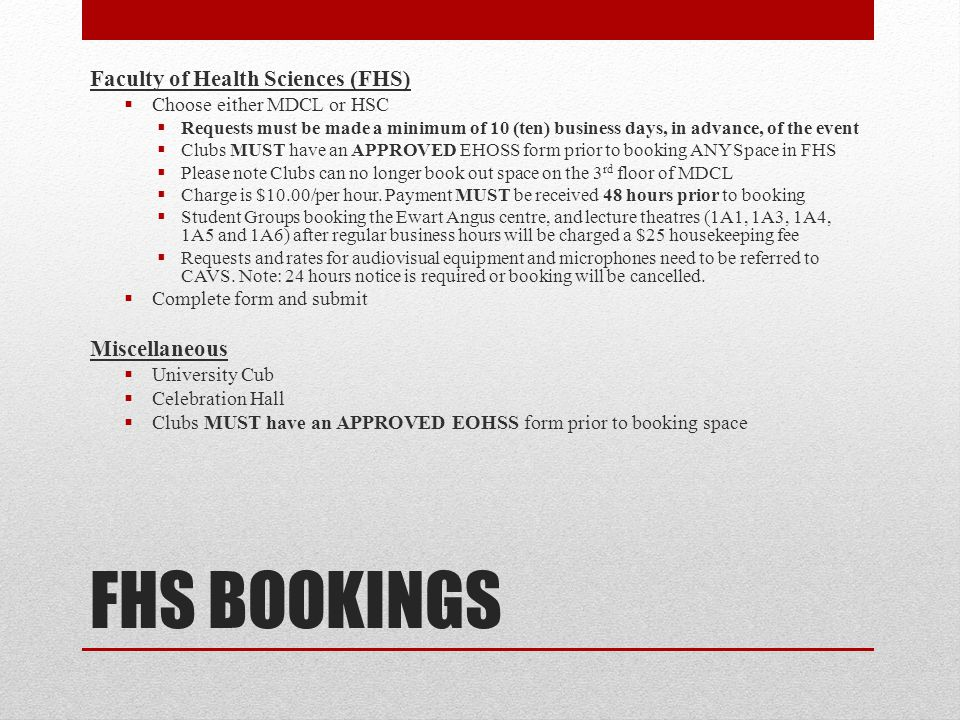 FHS BOOKINGS Faculty of Health Sciences (FHS) Miscellaneous