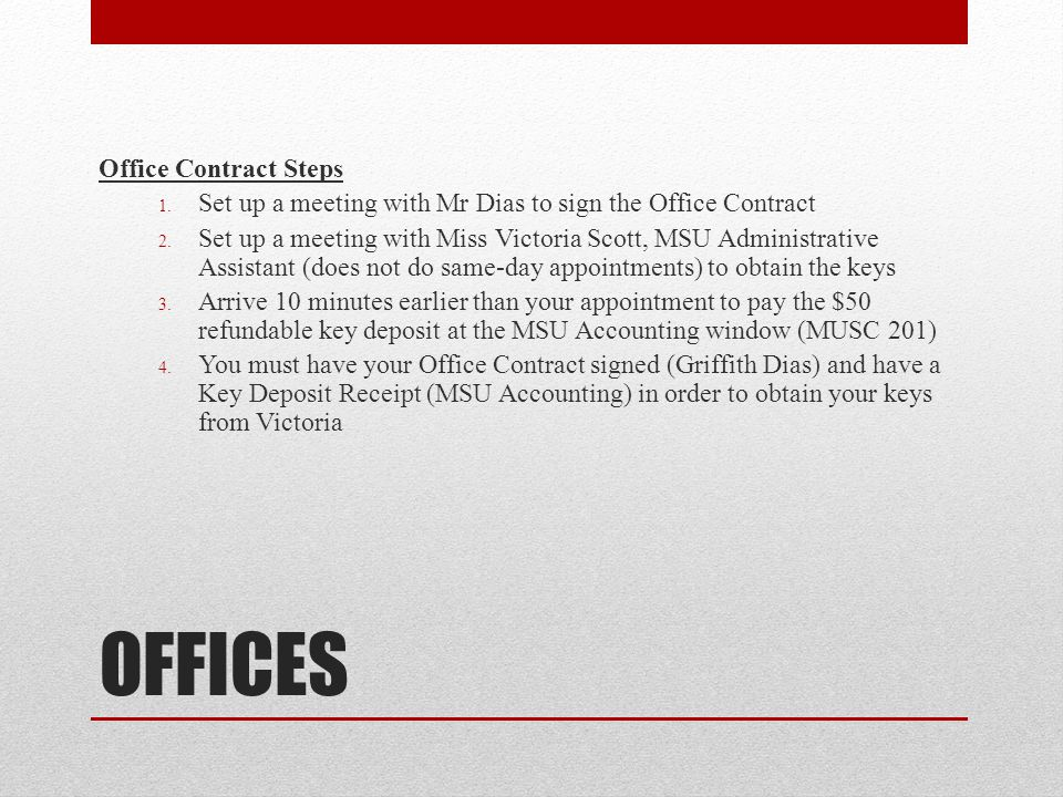 OFFICES Office Contract Steps