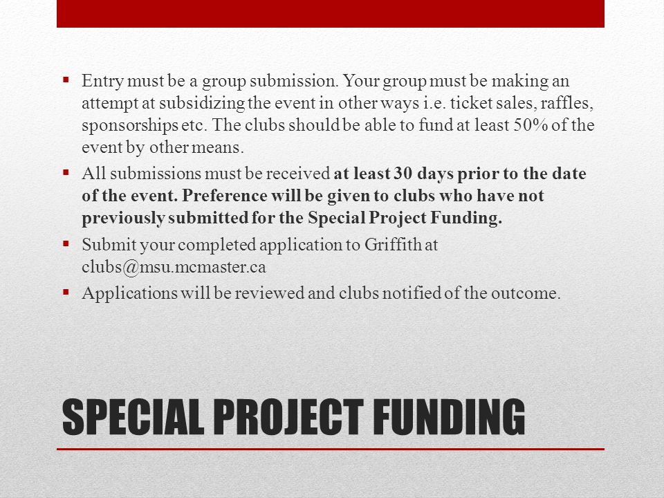 SPECIAL PROJECT FUNDING