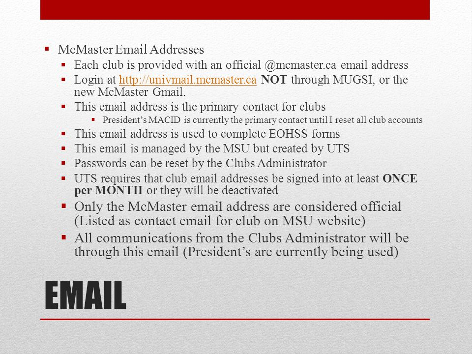 McMaster Email Addresses