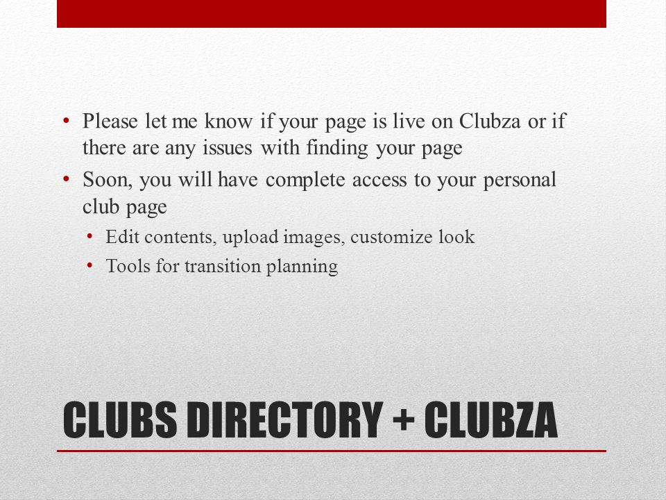 CLUBS DIRECTORY + CLUBZA