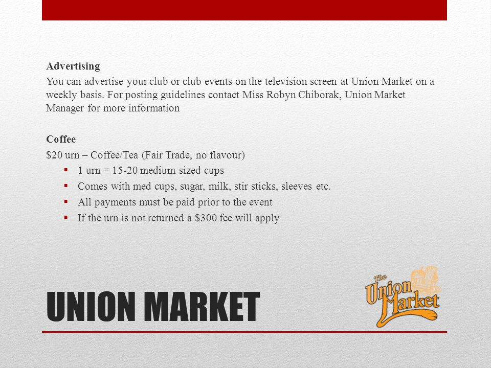 UNION MARKET Advertising