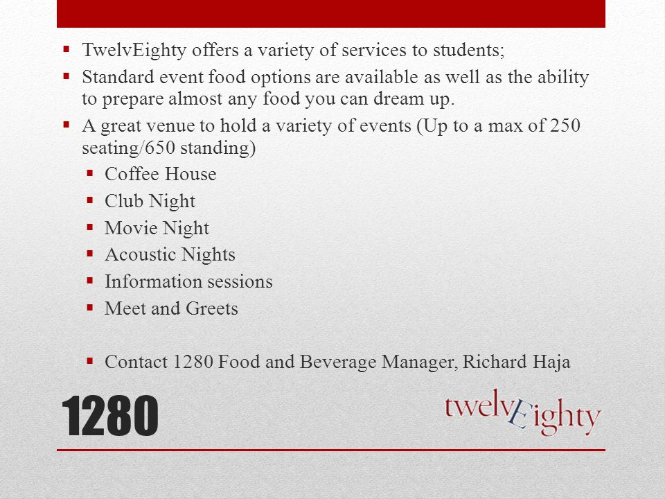 1280 TwelvEighty offers a variety of services to students;