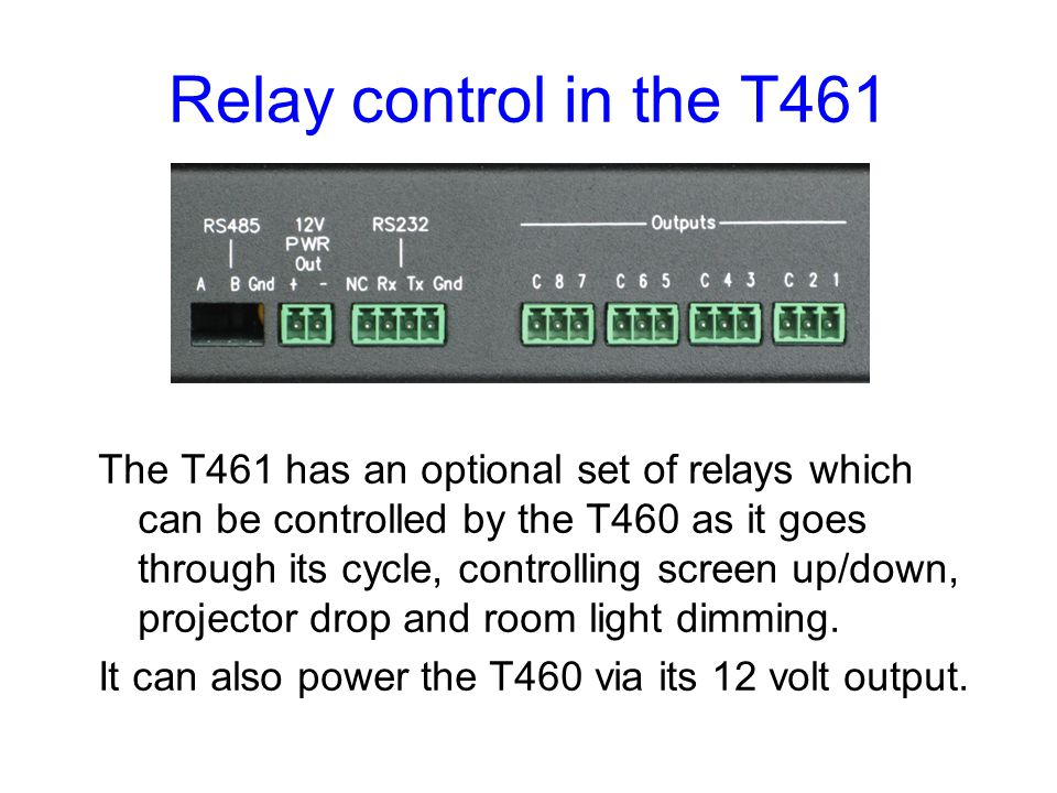 Relay control in the T461
