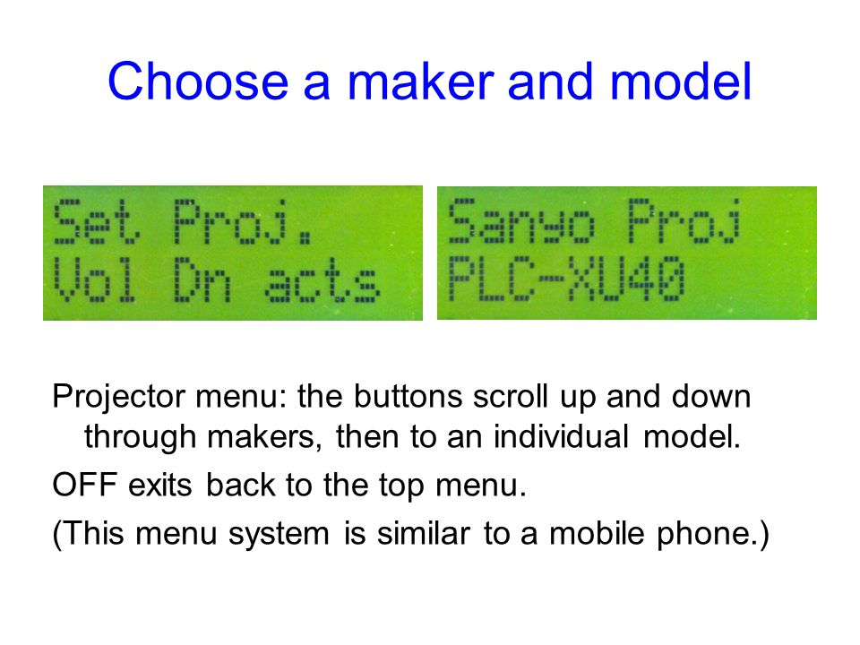 Choose a maker and model