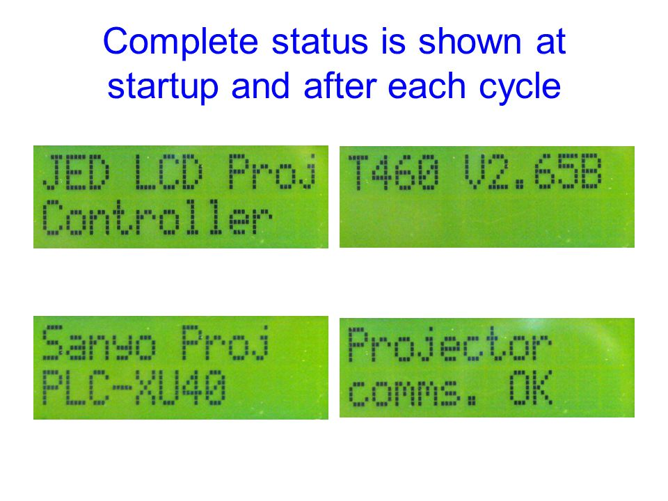 Complete status is shown at startup and after each cycle