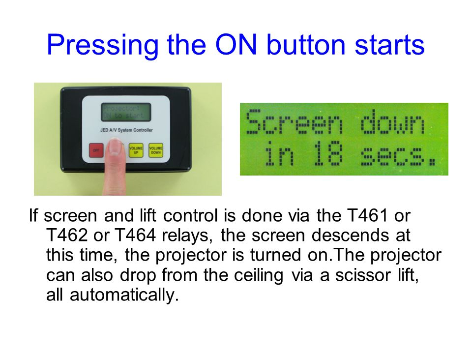 Pressing the ON button starts