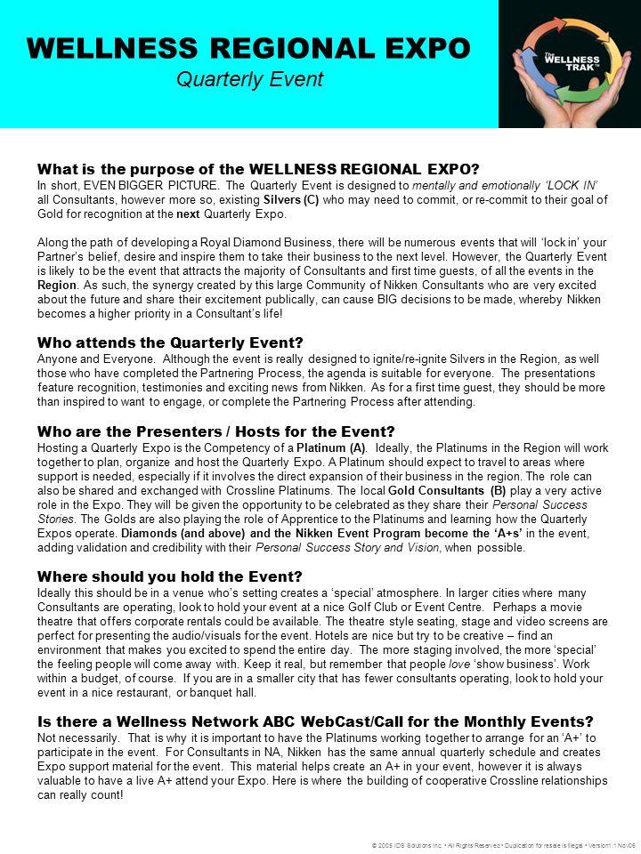 WELLNESS REGIONAL EXPO Quarterly Event