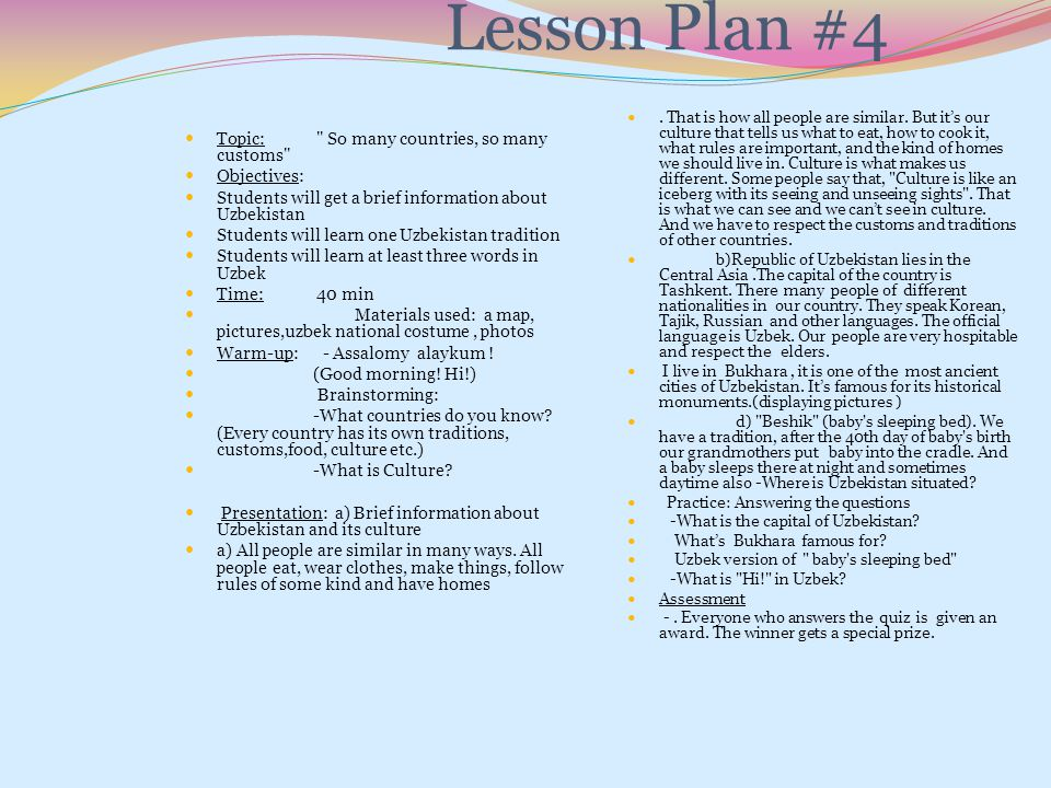 Lesson Plan #4 Topic: So many countries, so many customs