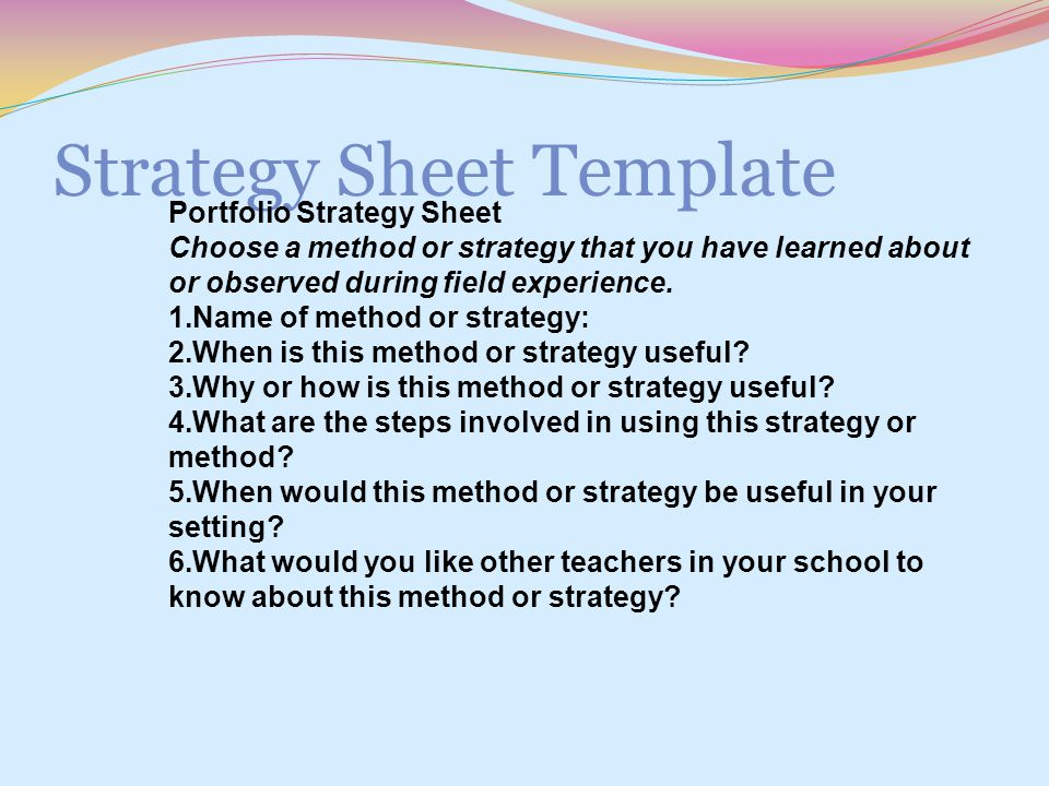 Strategy Sheet Template