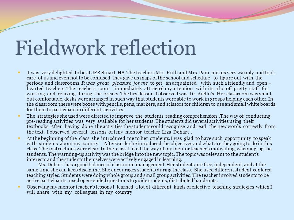 Fieldwork reflection