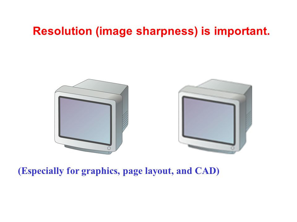 Resolution (image sharpness) is important.