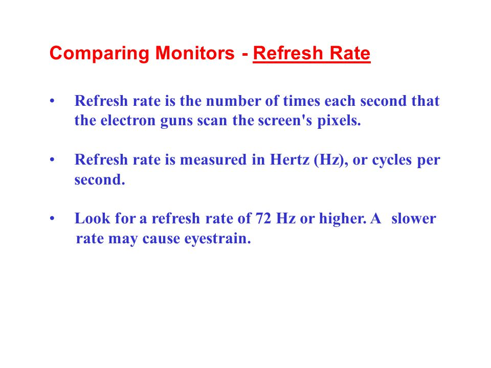 Comparing Monitors - Refresh Rate