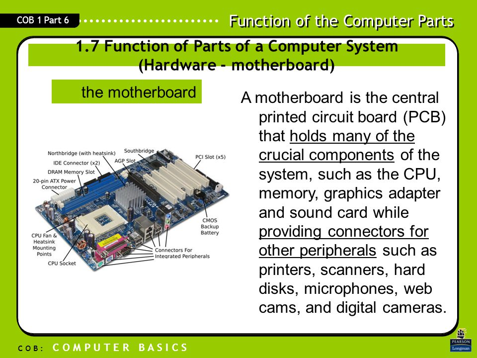1.7 Function of Parts of a Computer System (Hardware - motherboard)