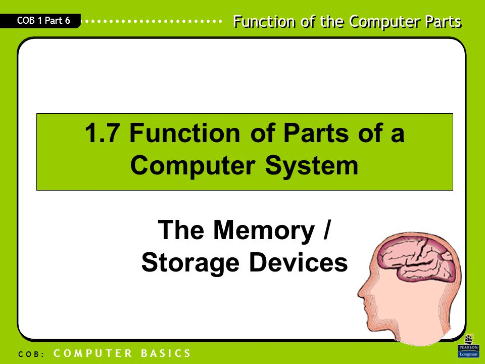 1.7 Function of Parts of a Computer System The Memory / Storage Devices