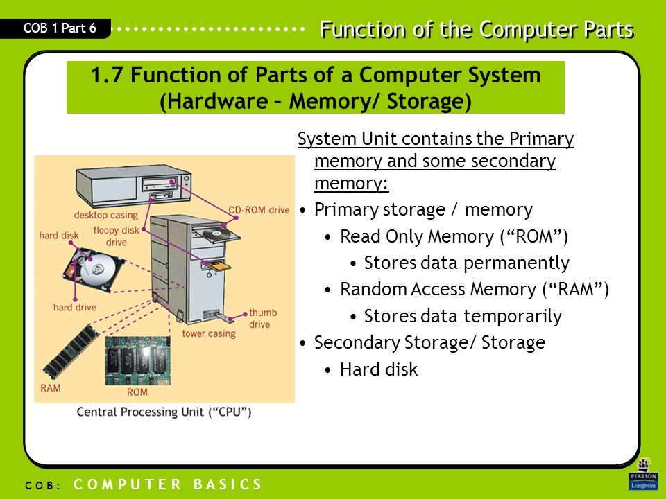 1.7 Function of Parts of a Computer System (Hardware – Memory/ Storage)