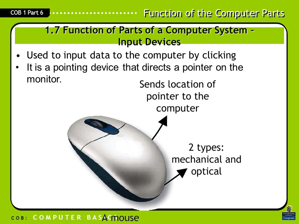1.7 Function of Parts of a Computer System – Input Devices