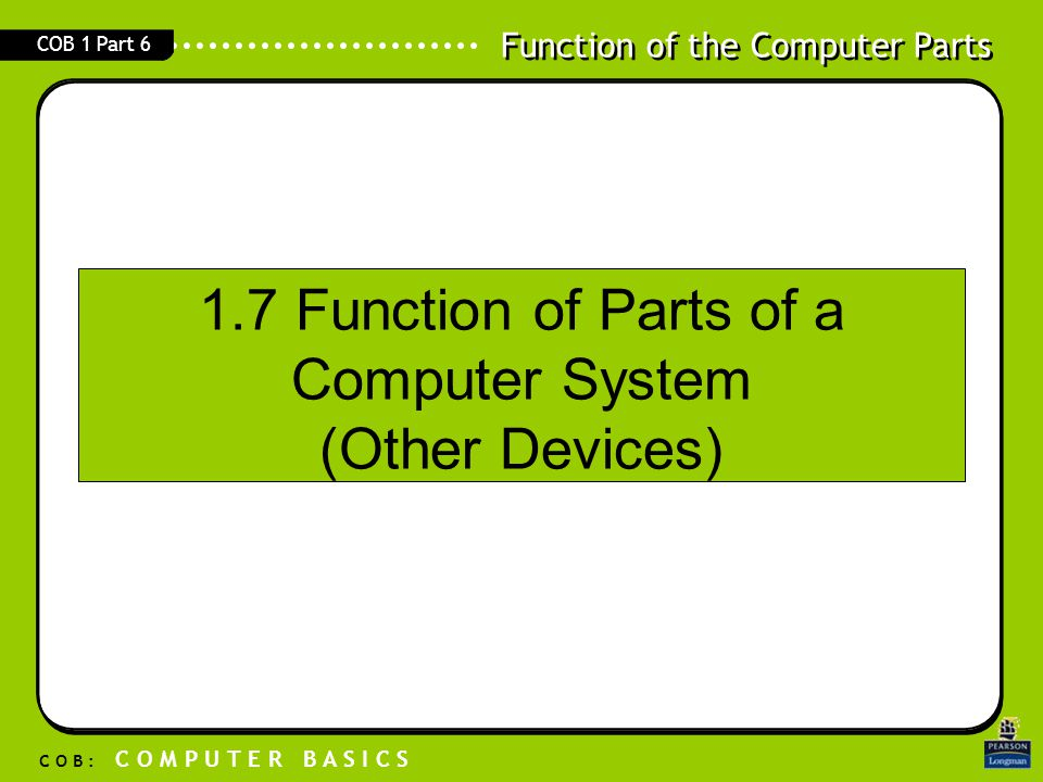 1.7 Function of Parts of a Computer System (Other Devices)