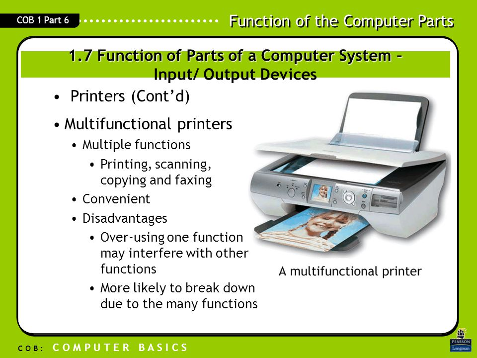 1.7 Function of Parts of a Computer System – Input/ Output Devices
