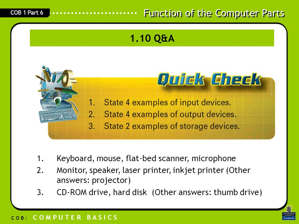 1.10 Q&A Keyboard, mouse, flat-bed scanner, microphone